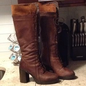 Steve Madden leather tie up knee boots